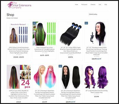 Website Designed Online Hair Extensions Store Fully Stocked Dropship Affiliate