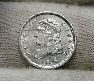 1836 Capped Bust Half Dime H10C 5 Cents - Nice Old Coin, Free Shipping  (6375)
