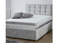 GREY CRUSHED VELVET DOUBLE BED
