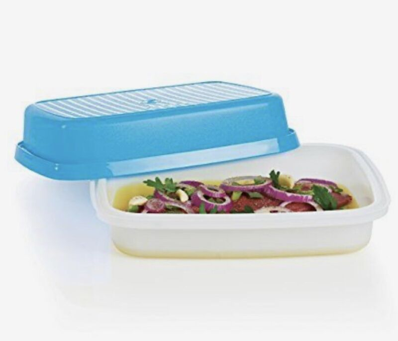TUPPERWARE SEASON SERVE BLUE MARINADER MARINADE WITHOUT THE MESS BEST EVER NEW