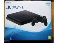 Sony PS4 slim, black, as new, with warranty, 3 games included