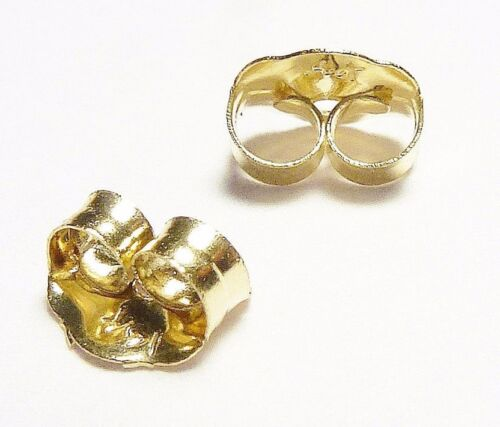 14KT YELLOW GOLD 4MM SMALL REPLACEMENT BACKS, PAIR - GUARANTEED - FREE SHIPPING
