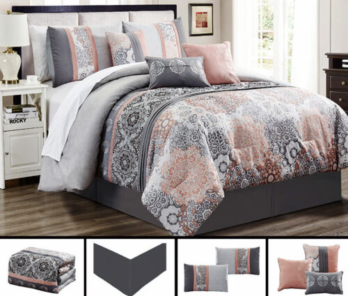 7 Piece Gray Soft Peach  Embroidery Comforter Set Queen/King Size Linen Plus NEW Bedding