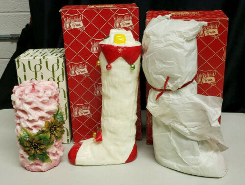 Lot of 3 Vintage  Penn Wax Christmas Candles, Stocking and Ribbon