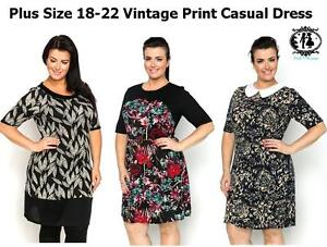 LADIES-PLUS-SIZE-18-22-VINTAGE-PRINT-SHIFT-DRESS-TUNIC-TOP-BLOUSE-SKATER-SUMMER