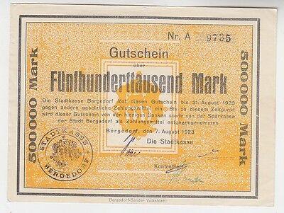 500000 Mark Banknote Stadtkasse Bergedorf 7.8.1923 (116188)