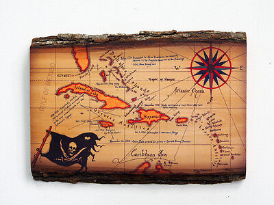 CARIBBEAN PIRATE MAP Wood Sign - Decorative Wooden Map On Natural Edge Wood