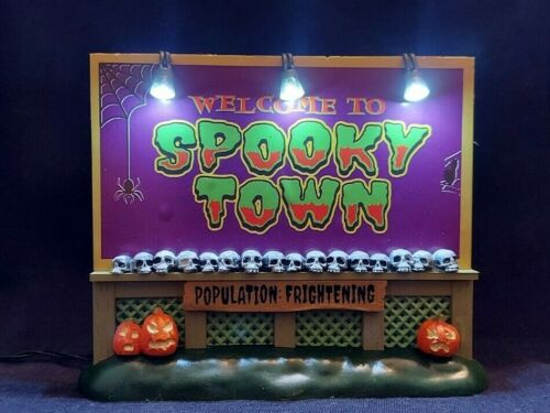 Lemax Spooky Town SPOOKY TOWN SIGN #04710 Lighted Spookytown BRAND NEW