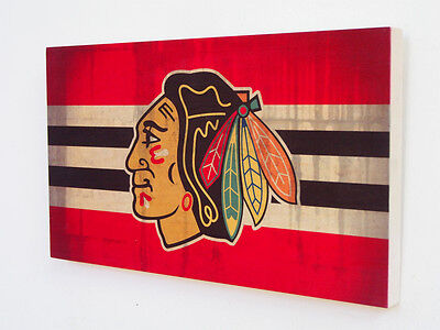 CHICAGO BLACKHAWKS Wood Sign - Wooden Plaque with Blackhawks Logo