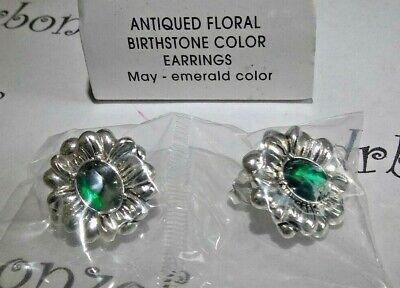 Avon Green Earrings - AVON Antiqued Floral Birthstone Earrings MAY emerald green color Nickel-free