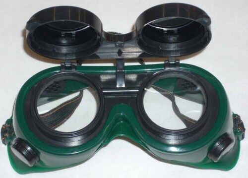 10 Green Welding Safety Goggles Round Flip Up Front New