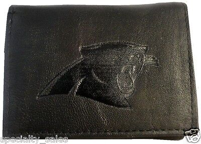 Carolina Panthers Embossed Logo Black Tri-Fold Wallet - * FREE SHIPPING * ()