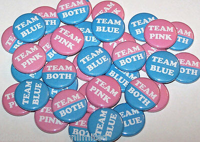 Twins Team Pink Team Blue Team Both Gender Reveal Shower Pins Buttons -Set of - Team Pink Team Blue Buttons
