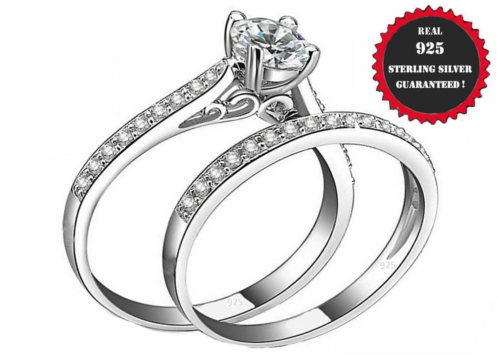 2ct  Real 925 Sterling Silver Wedding AAA CZ Ring Women's Band sz 4-11.5