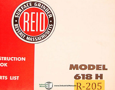 Reid 618h Surface Grinder Instruct Parts And Wiring Schematics Manual 1964