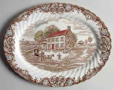 Johnson Brothers Heritage Hall Brown Multicolor Oval Serving Platter 278008