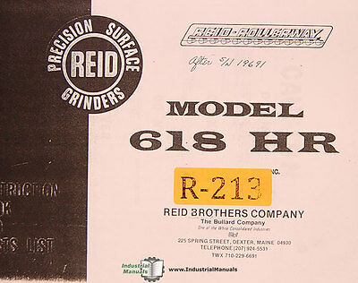 Reid 618 Hp Surface Grinder Instructions And Parts List Manual 1978