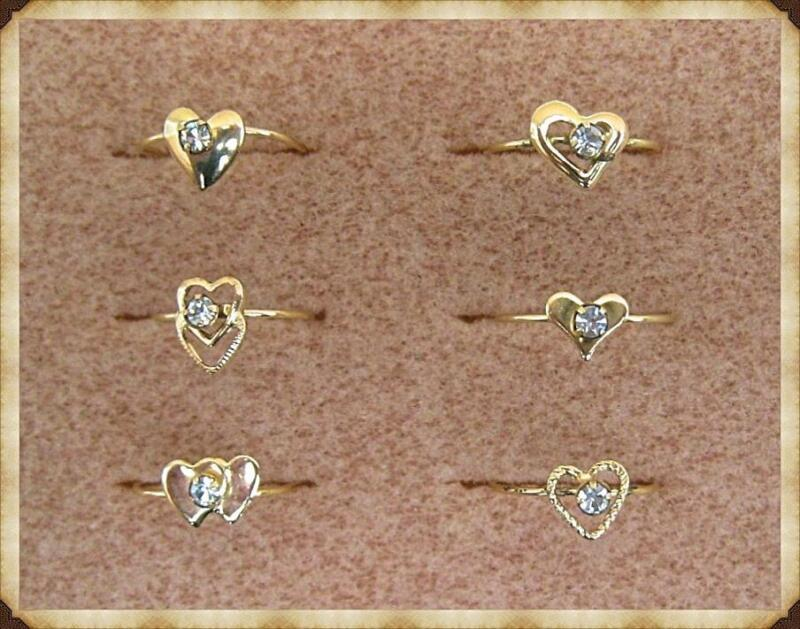 LIQUIDATION BLOW-OUT SALE: 3 Dozen Rings.  HEARTS set with AUSTRIAN CRYSTAL.