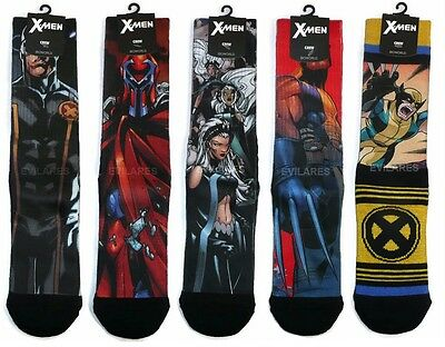 X-Men Themed Sublimated Crew Socks Wolverine Cyclops Storm Magneto Logan Marvel on Lookza