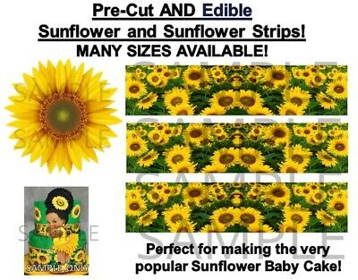 Sunflower Cake Decorations (Sunflower Edible Cake Strips, Sunflower Edible Decoration, Sunflower)