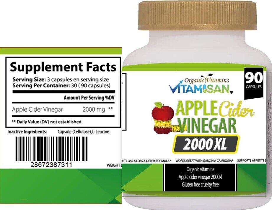 Apple Cider Vinegar Capsules Extra Strength Weight Fat Loss organic Diet vinagre 1