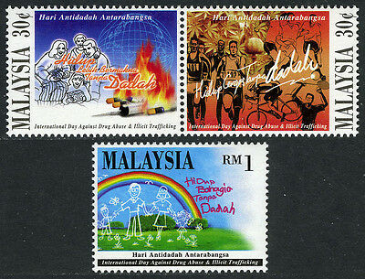 Malaysia 587-588a pair,589, MNH. Intl. Day against Drug Abuse, 1996