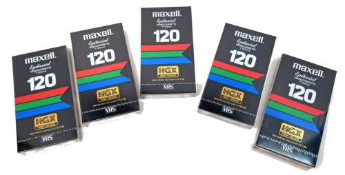 5Pcs NEW! Maxell HGX High Grade Epitaxial 120 VHS Video Cassette Tapes 5X Sealed