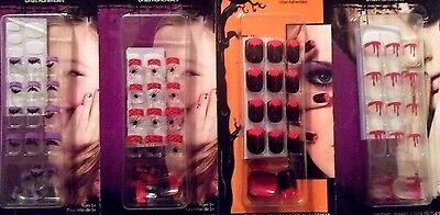 20 False Nails Dripping Blood Spider Purple Black Bat Halloween Costume - Halloween False Nails