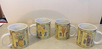 Sakura Tiki Stoneware Mugs Set 4 Mai Tai Pina Colada Zombie Singapore Sling