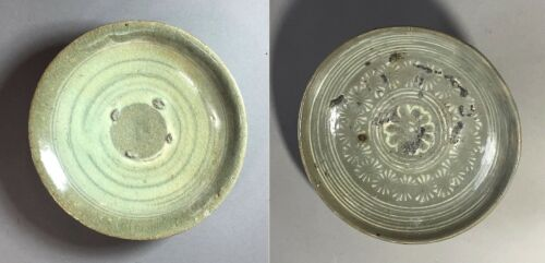 Fine Two Korean Punechong B/W Slip Inlaid and White Slip Brushed Dishes-15th C.