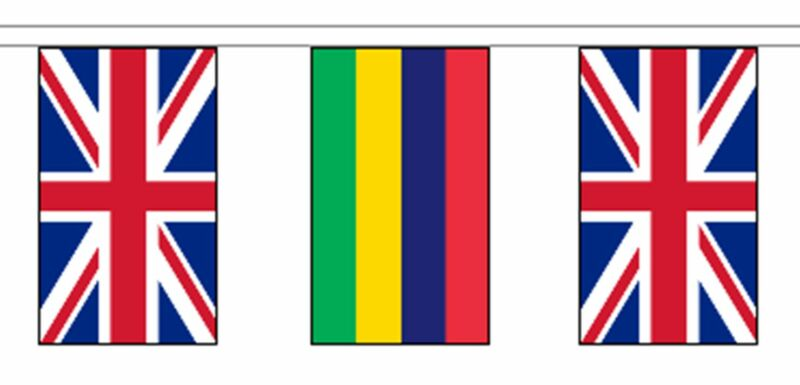 Mauritius & United Kingdom UK Polyester Flag Bunting - 20m with 56 Flags