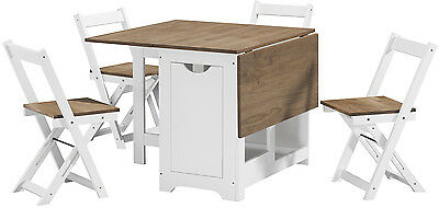 Santos Folding Drop leaf Butterfly Dining Set with Table 4 Chairs Waxed Pine