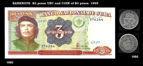 Lots Banknote UNC and Coin of $3 pesos C H E. Paper Money, Currency