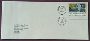 1969 United States FDC First Man on the Moon on Plain Cover to Bournemouth