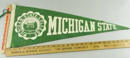 VTG Felt Pennant Historical Rare 1950s Michigan State College