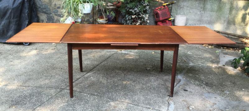 "Vintage Danish Modern Teak Dining Table  98"" extended 55"" x 34""  29"" Heigh"