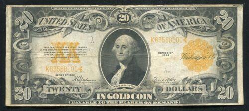 FR. 1187 1922 $20 TWENTY DOLLARS GOLD CERTIFICATE CURRENCY NOTE VERY FINE (C)