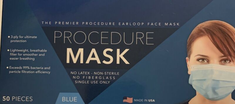 Procedure Masks Made In USA. 50 Masks Per Box. Price Is For One Box
