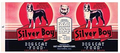 OLD VINTAGE CAN LABEL RARE DOG CAT FOOD 1940 BALTIMORE MARYLAND SILVER BOY BOXER