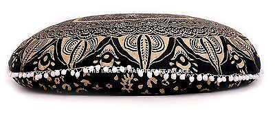 Indian Ombre Mandala Round Pom Lace Black Floor Pillow Outdo