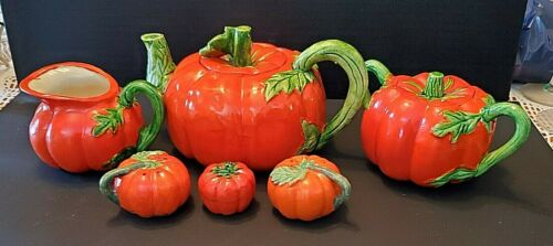 VINTAGE MARUHON WARE TOMATO TEAPOT SET FROM JAPAN