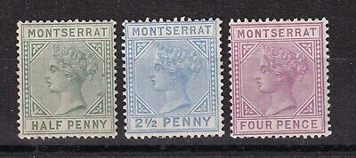 Montserrat  1884 part set of 3 mint hinged and used
