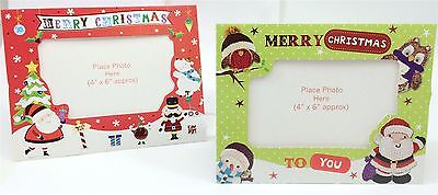 8 Green Red Cute Christmas Photo Frame Card Envelope Personalised Family Picture