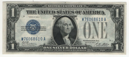 1928 A $1 SILVER CERTIFICATE FUNNY BACK WA BLOCK CHOICE ABOUT UNCIRCULATED(610)