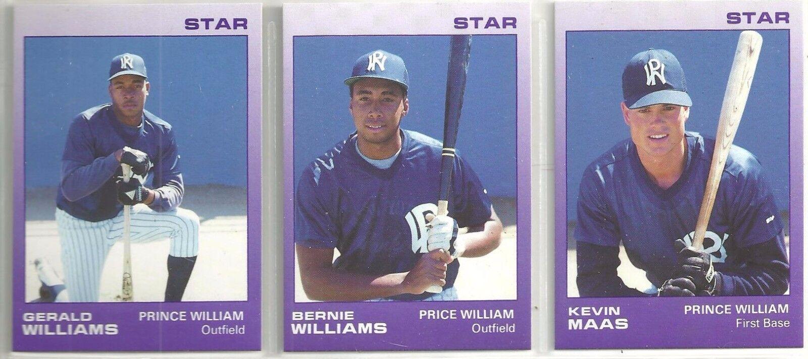 1988 Star  Prince William Yankees 25-card Minor League Team Set  Bernie Williams
