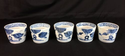 Set of 5 Antique Japanese Porcelain Tea Sake Wine Blue and White Cups 19th c.