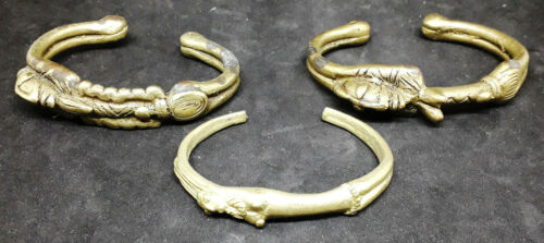 Rare Set of (x3) Antique Anthropomorphic DOGON Gilt Bronze Bracelets - MALI