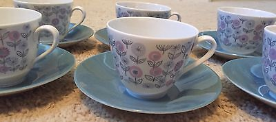 Six Rorstrand  Sweden Porcelain Tea Cups Teacups and Saucers #621 Paloma Vintage