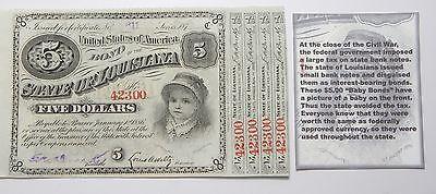 1886, State Of Louisiana 5 Dollars UNC