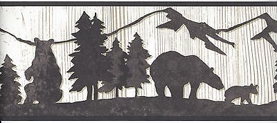 Silhouette Bears in Forest on Aged Cream Wood Lodge Wallpaper Border WT1136B